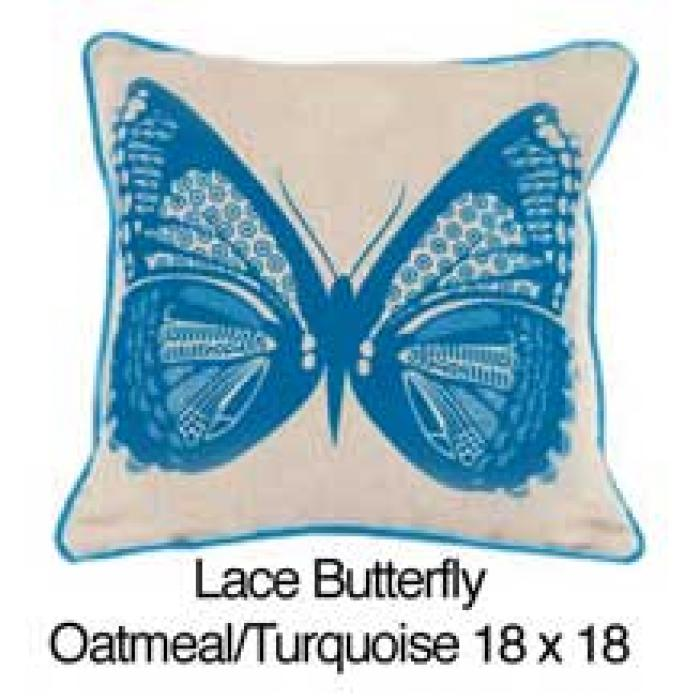 Lace Butterfly Oatmeal / Turquoise