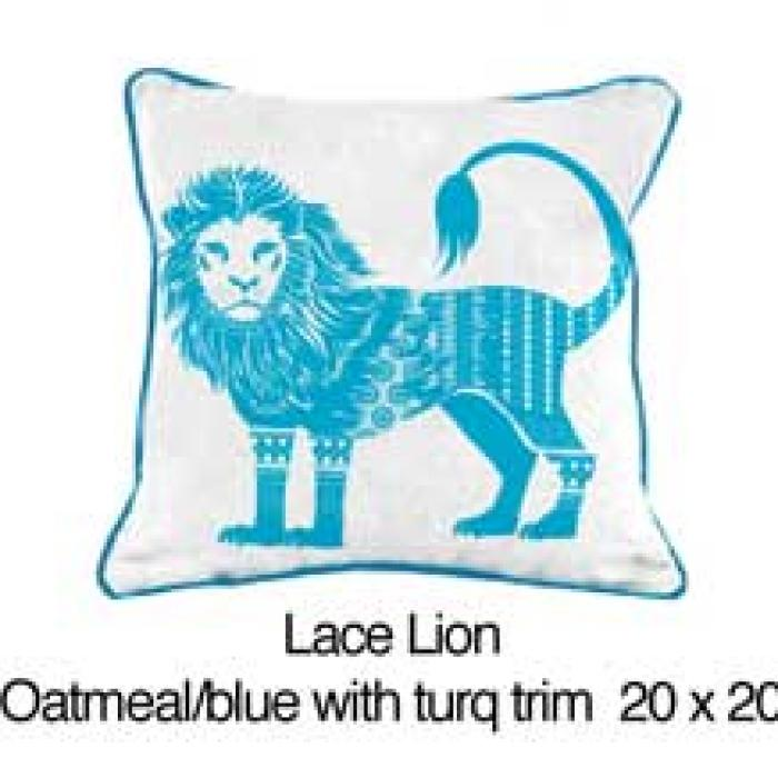 Lace Lion  Oatmeal / Blue / Turquoise