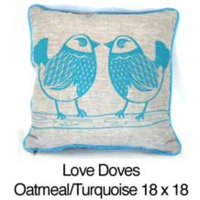 Love Doves Oatmeal / Turquoise