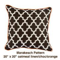 Marakesch Pattern Oatmeal Linen / Choc / Orange