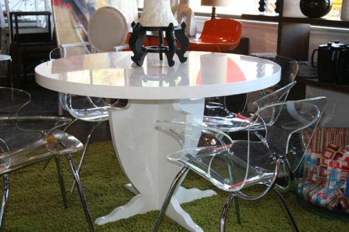 Modern Greek Dining Table in Autobody White