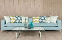 Monte Carlo Sofa in Aqua Textured Fabric (chrome legs)