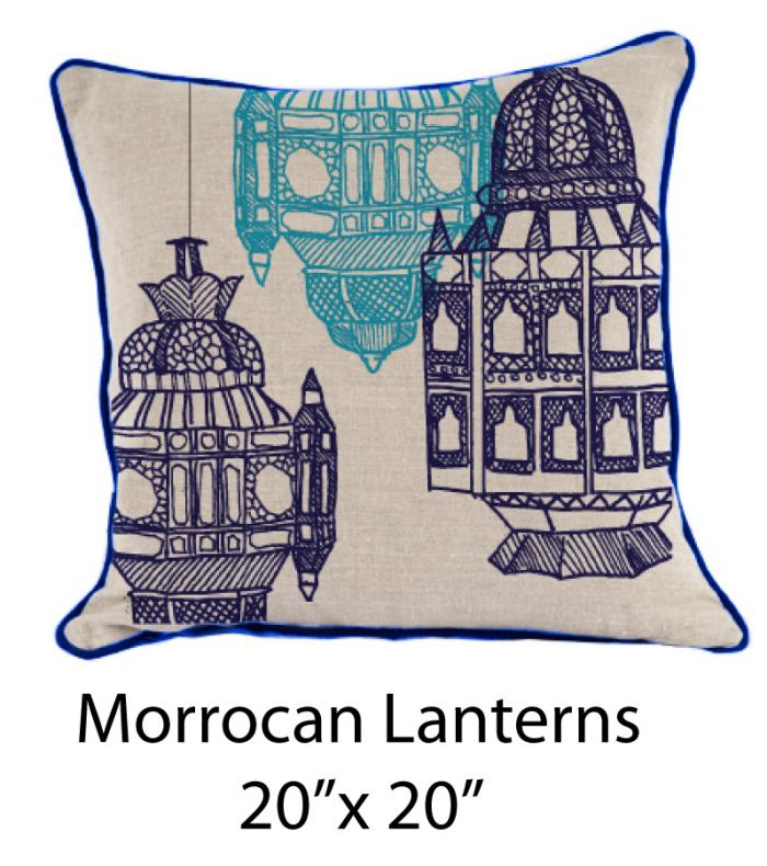 Moroccan Lanterns Oatmeal/Navy/Turquoise