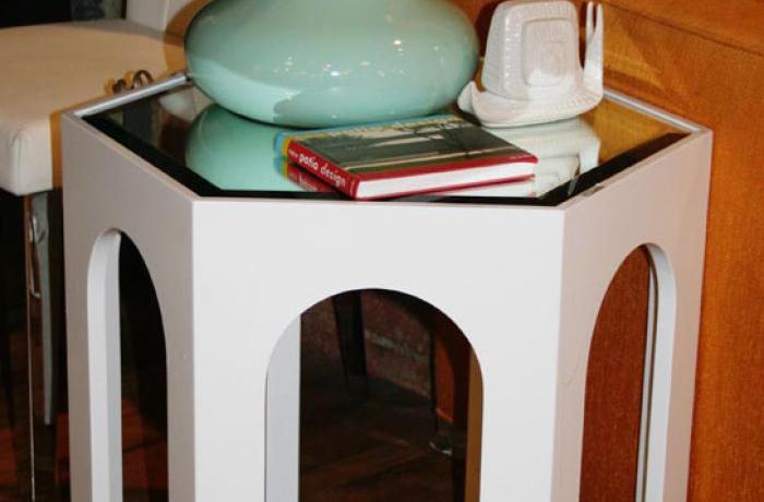 Moroccan Side Table in White with Mirror Top