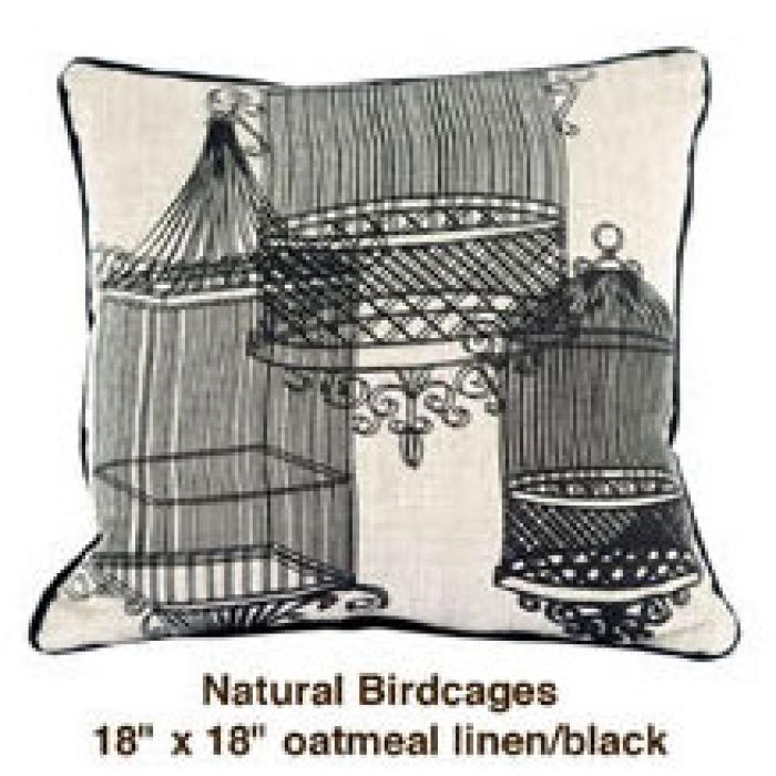 Natural Birdcages Oatmeal Linen / Black