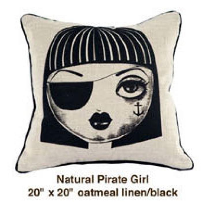 Natural Pirate Girl Oatmeal Linen / Black