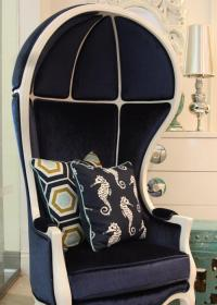 Nautical Navy and White Balloon Chair