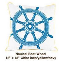 Nautical Boat Wheel White  / Yellow / Navy