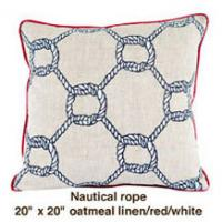 Nautical Rope Oatmeal Linen  / Red / White