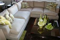 Oliver Sectional with Overstuffed Down Cushions in Natural Linen