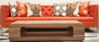 Orange Tufted Hollywood Sofa