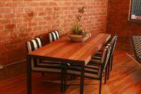 Ironwood Outdoor Dining Table with Matt Black Base