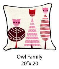 Owl Family White/Burgundy/Pink/Red