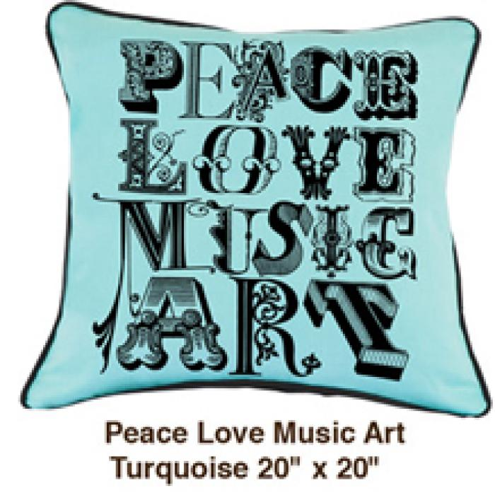 Peace Love Music Art Turquoise