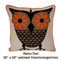 Retro Owl Oatmeal Linen / Orange / Choc