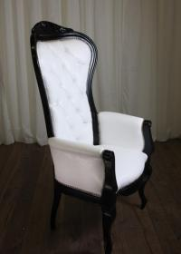 Riviera Wing Chair with Arms (White with Black)