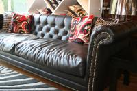 Roosevelt Sofa in Chocolate Faux Leather (with brass nailhead trim)