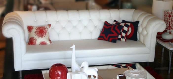 Roosevelt Sofa In White Faux Leather
