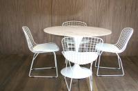 Marble Saarinen Style Tulip Dining Table and Bertoia Style Wire Back Chair Set (White) - Table plus 4 Chairs Set