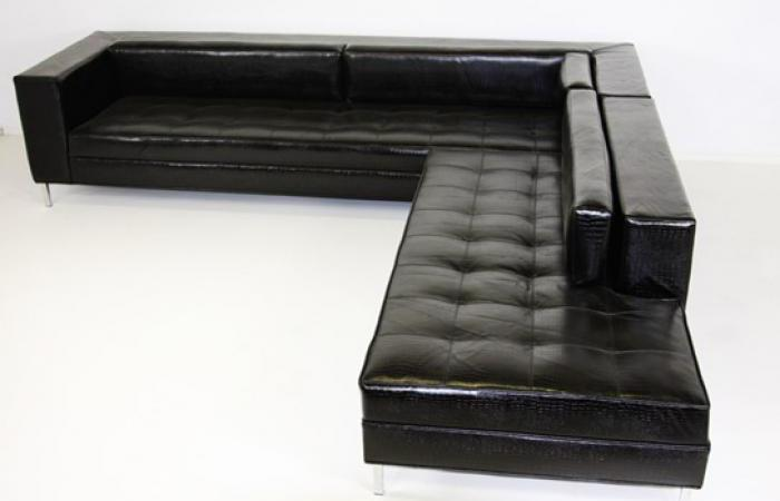 RMS Sectional in Glossy Black Embossed Faux Leather