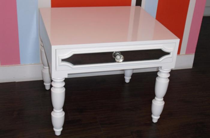 South Beach Side Table in High Gloss White Finish
