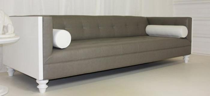 Koenig Sofa in Gray/Blue Faux Leather with White High Gloss Sides