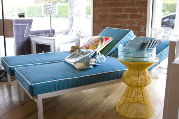 South Beach Sunlounger with White Powder Coated Metal and Turquoise Cushion