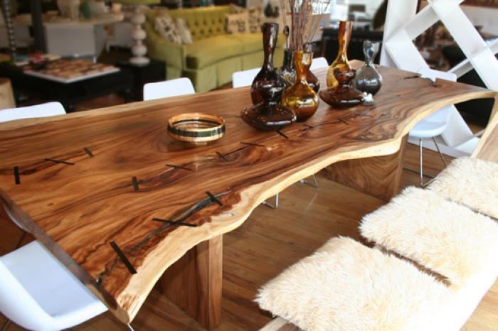 the eco dining table made from acacia tree wood. Black Bedroom Furniture Sets. Home Design Ideas