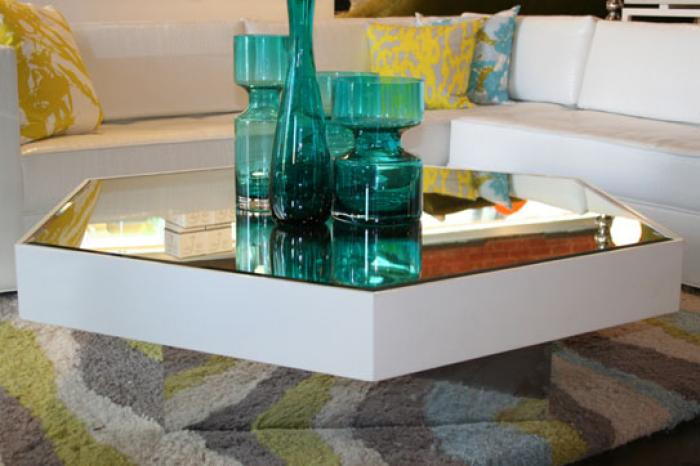 The New Octagon Coffee Table in White with Mirror Top