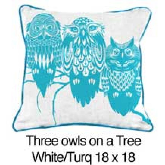 Three Owls White / Turquoise