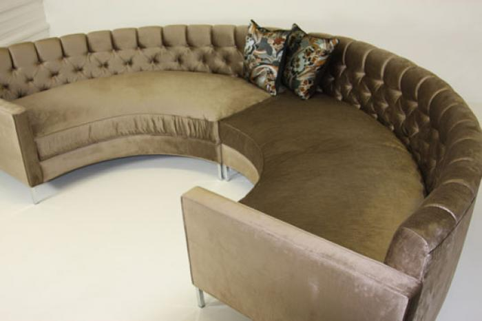 Tufted Circle Sectional in Mocha Velvet