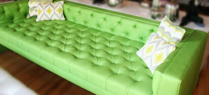 Viceroy Sofa with Texture Fabric in Green