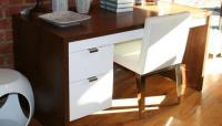 Walnut Desk with 2 Drawers in White Finish
