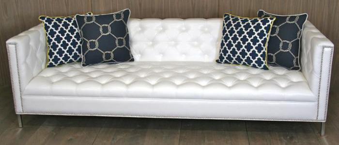 White Tufted Hollywood Sofa
