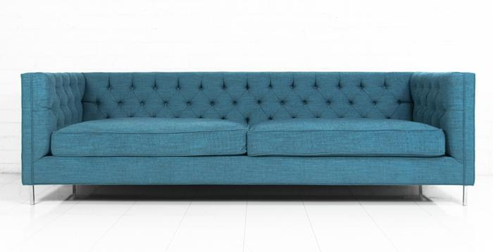 Tufted 007 sofa in turquoise textured fabric - Turquoise sofa ...