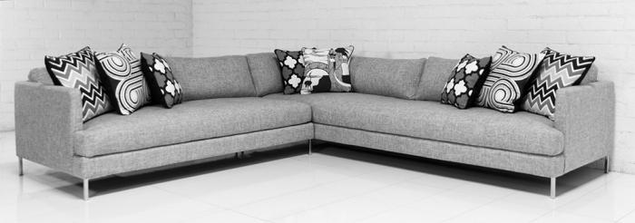 Slim Jim Sectional In Zuma Pumice Linen