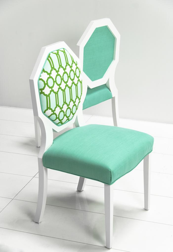 octagon dining chair with mint lattice fabric. Black Bedroom Furniture Sets. Home Design Ideas