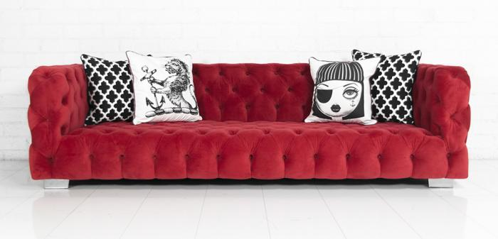 www.roomservicestore.com - Red Velvet Boca Sofa
