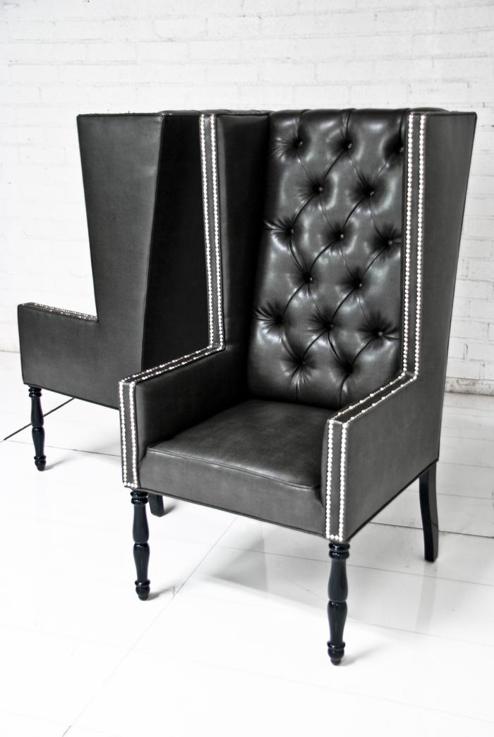 ultra tall mod wing dining chair in faux black leather. Black Bedroom Furniture Sets. Home Design Ideas