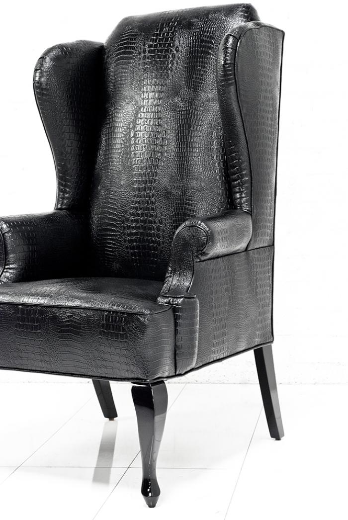 Top www.roomservicestore.com - Brixton Wing Chair in Black Croc Leather CE29
