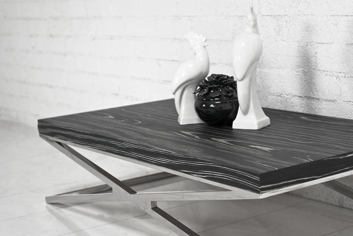 Black Macar Chrome X Leg Coffee Table