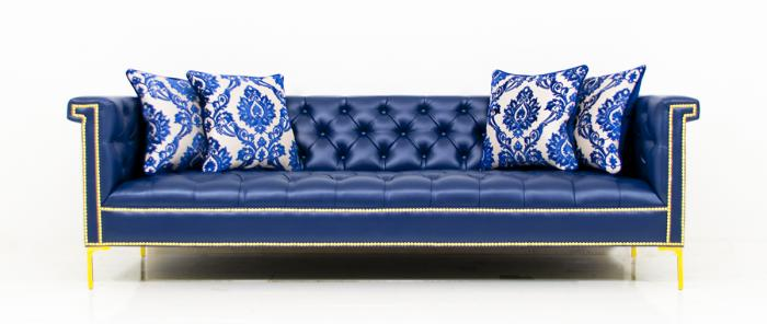 www.roomservicestore.com - Sinatra Sofa in Navy Faux Leather