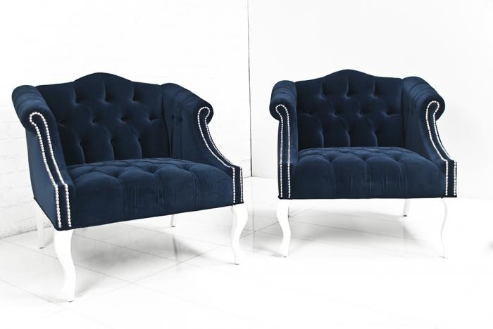 New www.roomservicestore.com - Mademoiselle Chair in Navy Velvet UA44