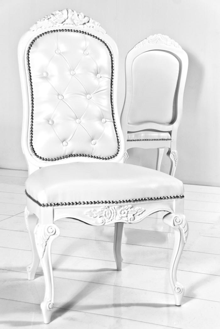 Monte Carlo Dining Chair In White Faux Leather