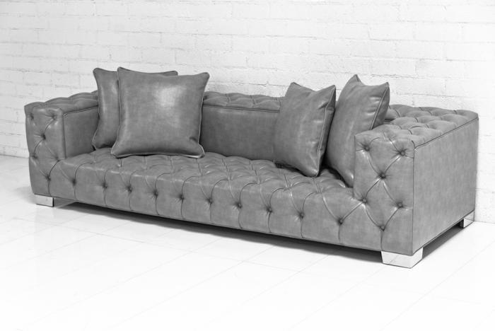 Tufted Fat Boy Sofa In Grey Faux Leather