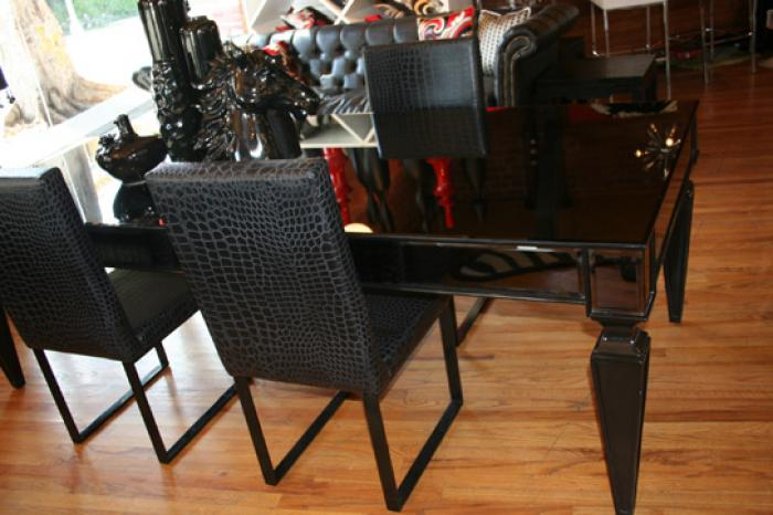 www.roomservicestore - st. tropez black mirrorred dining table Black Dining Table
