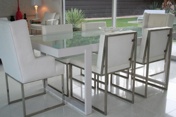 Brand-new www.roomservicestore.com - White Metal and frosted glass dining table LY89