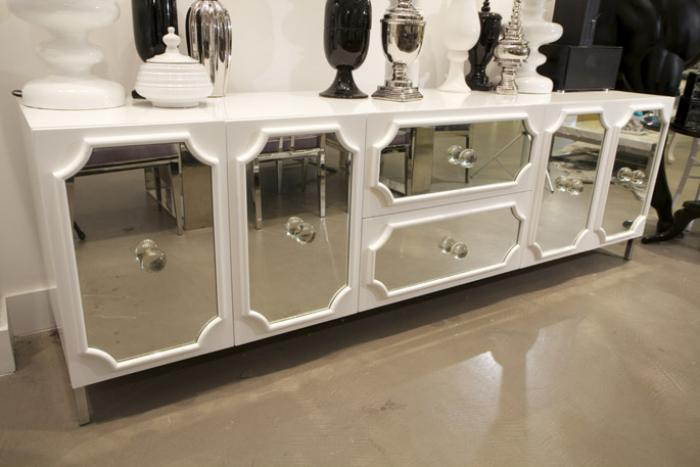 Large Hollywood Credenza In High Gloss White Lacquer